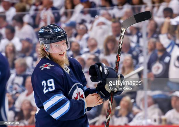 Patrik Laine of the Winnipeg Jets looks on during a third period stoppage in play against the Vegas Golden Knights in Game One of the Western...