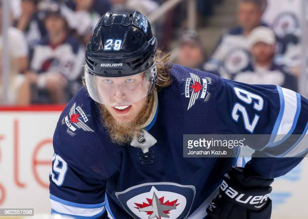 Patrik Laine of the Winnipeg Jets looks on during a third period faceoff against the Vegas Golden Knights in Game Five of the Western Conference...
