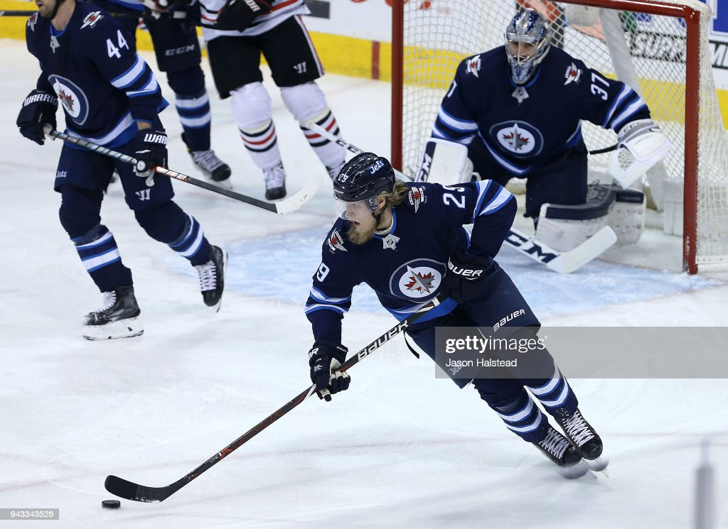 Patrik Laine #29 of the Winnipeg Jets moves the puck during NHL action against the Chicago Blackhawks on April 7, 2018 at Bell MTS Place in Winnipeg, Manitoba.