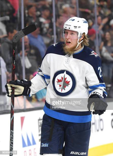 Patrik Laine of the Winnipeg Jets reacts after being called for a penalty late in the third period against the Vegas Golden Knights in Game Four of...