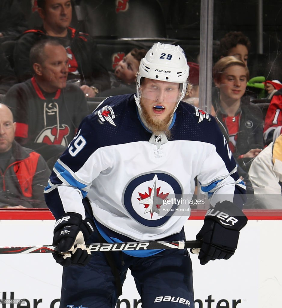 the latest ae947 fe4e5 Patrik Laine of the Winnipeg Jets skates against the New ...