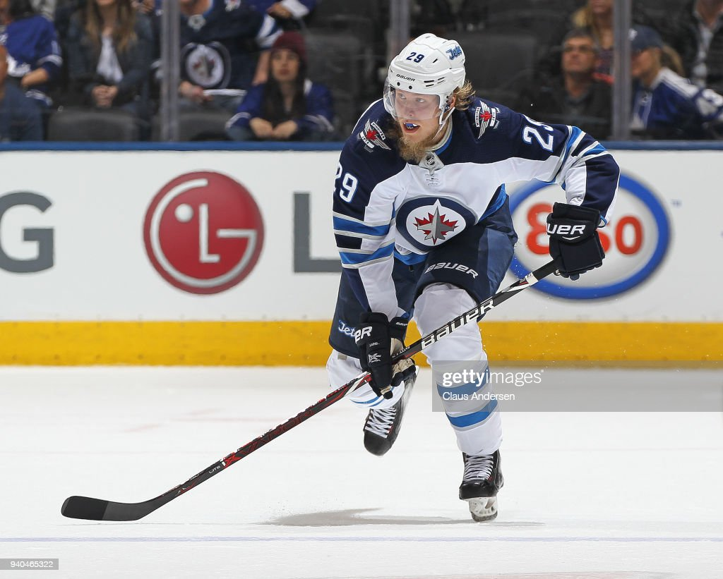 Patrik Laine #29 of the Winnipeg Jets skates against the Toronto Maple Leafs during an NHL game at the Air Canada Centre on March 31, 2018 in Toronto, Ontario, Canada. The Jets defeated the Maple Leafs 3-1.