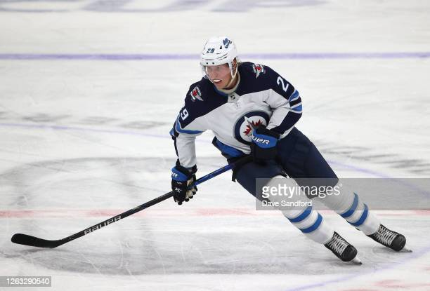 Patrik Laine of the Winnipeg Jets skates during the second period of Game One of the Western Conference Qualification Round against the Calgary...
