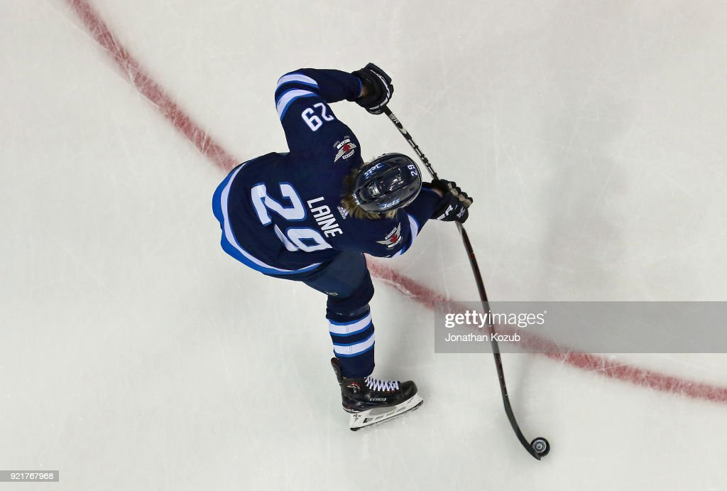 Patrik Laine #29 of the Winnipeg Jets takes part in the pre-game warm up prior to NHL action against the Los Angeles Kings at the Bell MTS Place on February 20, 2018 in Winnipeg, Manitoba, Canada.