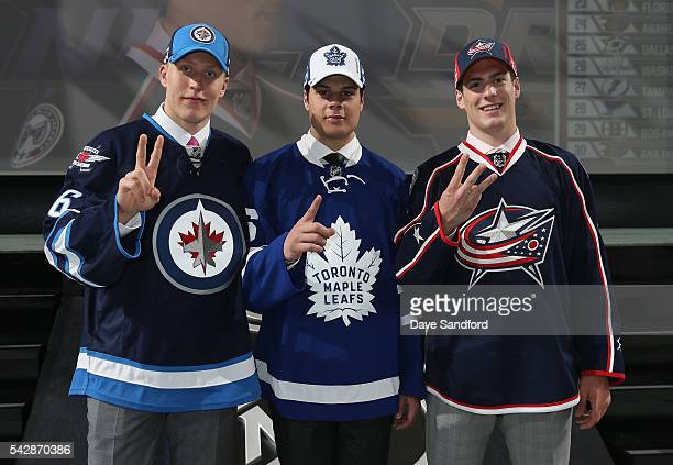 Patrik Laine, selected second overall by the Winnipeg Jets, Auston Matthews, selected first overall by the Toronto Maple Leafs, and Pierre-Luc...
