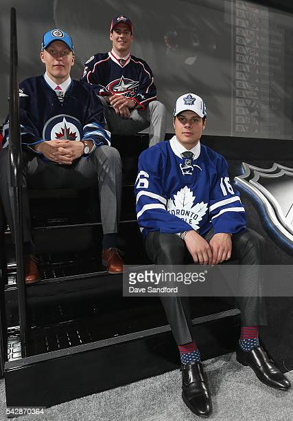 Patrik Laine, selected second overall by the Winnipeg Jets, Pierre-Luc Dubois, selected third overall by the Columbus Blue Jackets, and Auston...