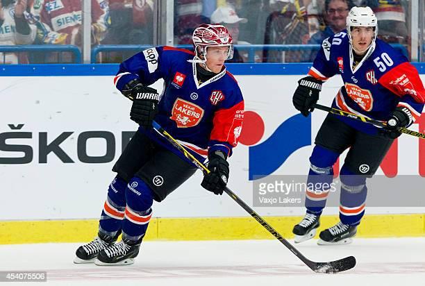 Patrik Lundh of Växjö Lakers is the TOP SCORER of Växjö Lakers this evening , during the Champions Hockey League group stage game between Vaxjo...