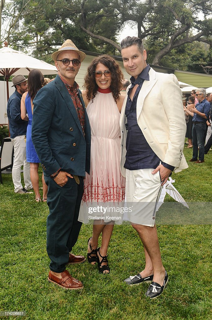 Patrik Milani, Lisa Edelstein and Cameron Silver attend LAXART 2013 Garden Party on July 21, 2013 in Los Angeles, California.