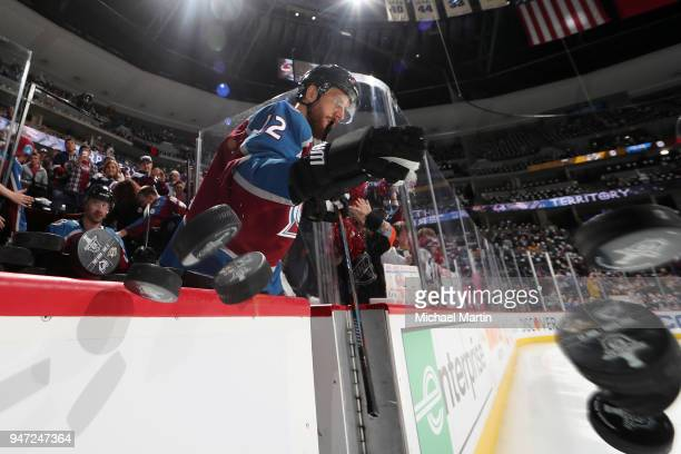 Patrik Nemeth of the Colorado Avalanche takes to the ice prior to Game Three of the Western Conference First Round during the 2018 NHL Stanley Cup...