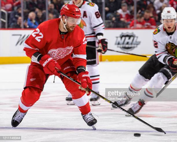 Patrik Nemeth of the Detroit Red Wings controls the puck against the Chicago Blackhawks during an NHL game at Little Caesars Arena on March 6, 2020...