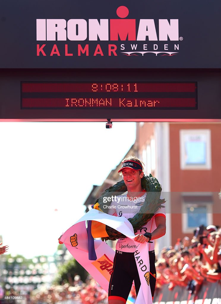 Patrik Nilsson of Sweden celebrates after winning the mens race during Ironman Kalmar on August 15, 2015 in Kalmar, Sweden.
