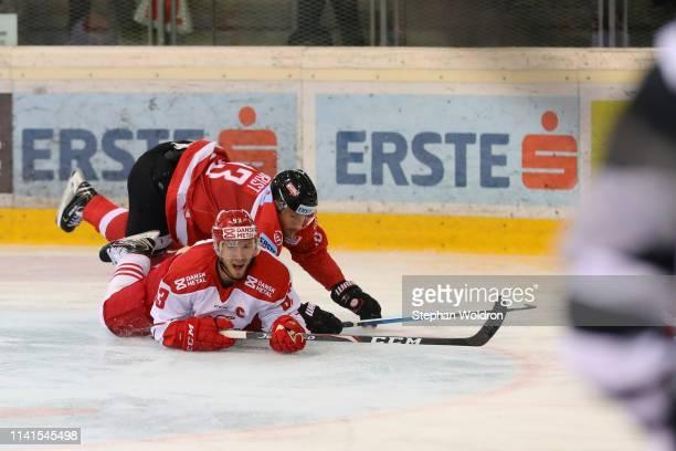 Patrik Obrist of Austria and Peter Regin of Denmark during the Austria v Denmark - Ice Hockey International Friendly at Erste Bank Arena on May 5,...
