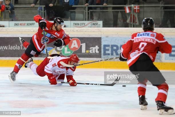 Patrik Obrist of Austria, Peter Regin of Denmark and Alexander Rauchenwald of AUT during the Austria v Denmark - Ice Hockey International Friendly at...