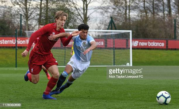 Patrik Raitanen of Liverpool and Samuel Durrant of Blackburn Rovers in action during the U18 Premier League game at The Kirkby Academy on March 2...