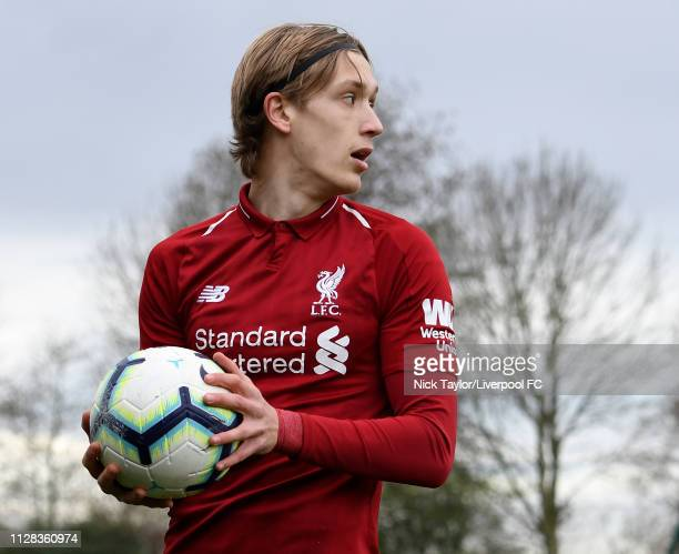 Patrik Raitanen of Liverpool in action during the U18 Premier League game at The Kirkby Academy on March 2 2019 in Kirkby England