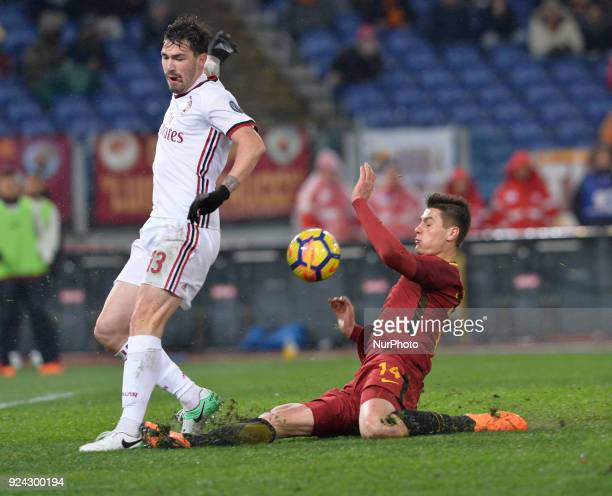 Patrik Schick and Alessio Romagnoli during the Italian Serie A football match between AS Roma and AC Milan at the Olympic Stadium in Rome on february...