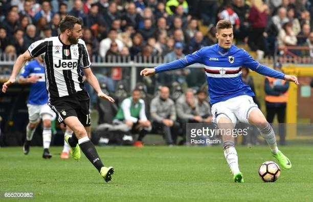 Patrik Schick and Andrea Barzagli during the Serie A match between UC Sampdoria and Juventus FC at Stadio Luigi Ferraris on March 19 2017 in Genoa...
