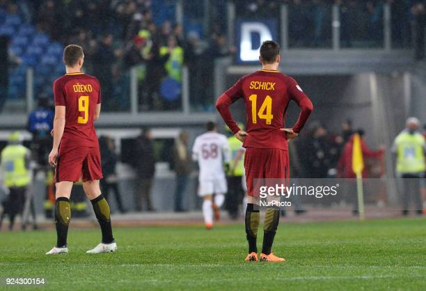Patrik Schick and Edin Dzeko during the Italian Serie A football match between AS Roma and AC Milan at the Olympic Stadium in Rome on february 25 2018