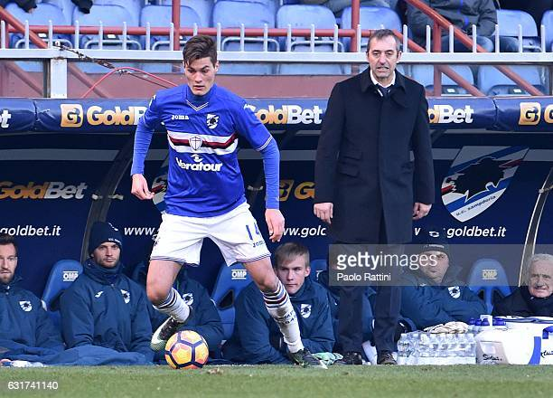 Patrik Schick and Marco Giampaolo of Sampdoria during the Serie A match between UC Sampdoria and Empoli FC at Stadio Luigi Ferraris on January 15...