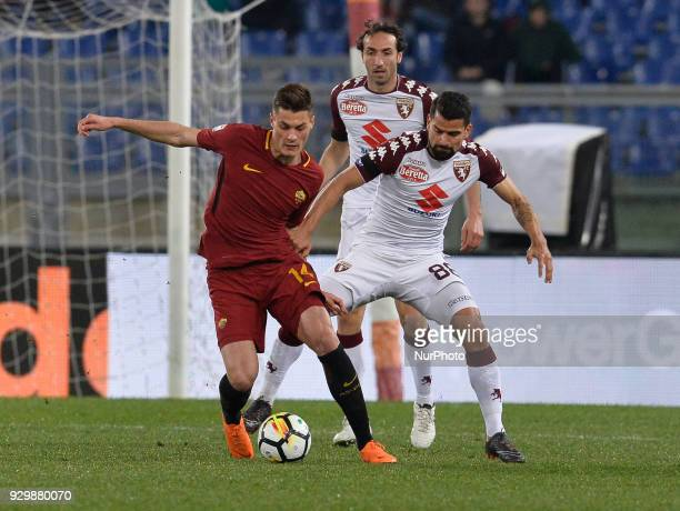 Patrik Schick and Thomas Rincon during the Italian Serie A football match between AS Roma and FC Torino at the Olympic Stadium in Rome on march 09...