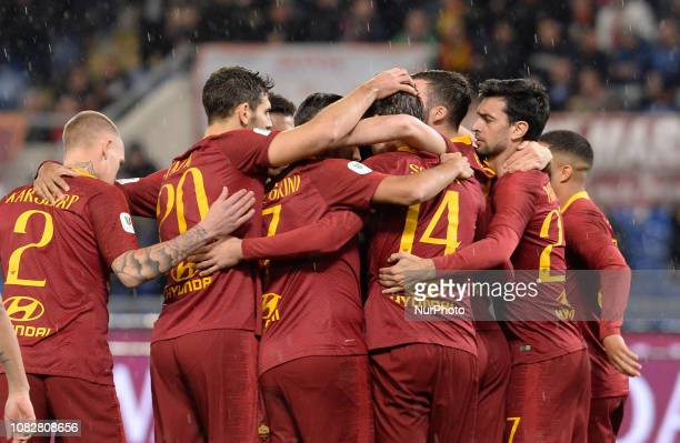Patrik Schick celebrates after scoring goal 10 during the Italian Cup football match between AS Roma and Virtus Entella at the Olympic Stadium in...