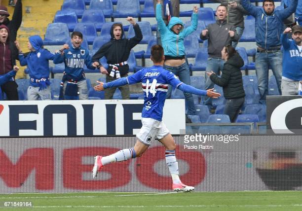 Patrik Schick celetes after scoring 10 during the Serie A match between UC Sampdoria and FC Crotone at Stadio Luigi Ferraris on April 23 2017 in...