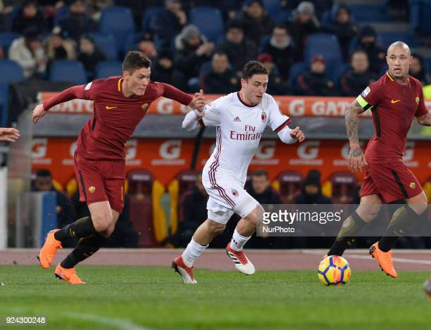 Patrik Schick Davide Calabria during the Italian Serie A football match between AS Roma and AC Milan at the Olympic Stadium in Rome on february 25...