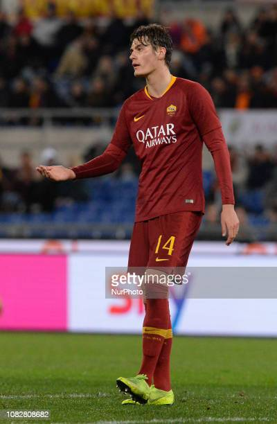 Patrik Schick during the Italian Cup football match between AS Roma and Virtus Entella at the Olympic Stadium in Rome on January 14 2019