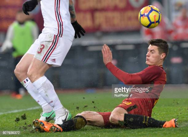 Patrik Schick during the Italian Serie A football match between AS Roma and AC Milan at the Olympic Stadium in Rome on february 25 2018