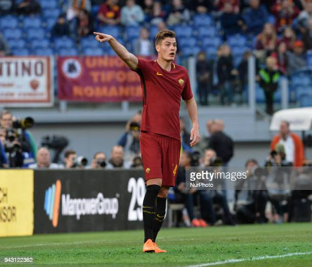 Patrik Schick during the Italian Serie A football match between AS Roma and ACF Fiorentina at the Olympic Stadium in Rome on april 07 2018