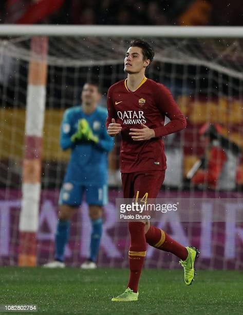 Patrik Schick of AS Roma celebrates after scoring the opening goal during the Coppa Italia match between AS Roma and Entella at Olimpico Stadium on...
