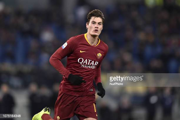 Patrik Schick of AS Roma celebrates scoring second goal during the Serie A match between Roma and Sassuolo at Stadio Olimpico Rome Italy on 26...