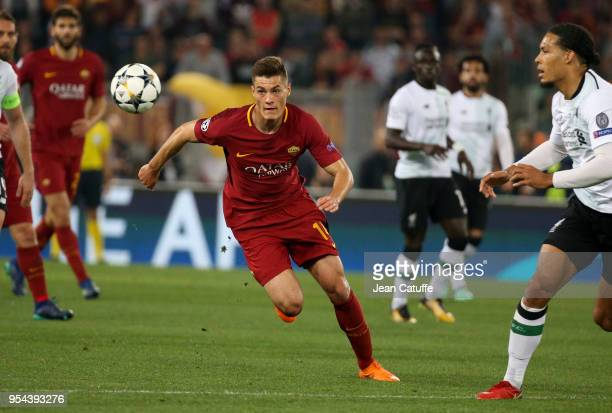 Patrik Schick of AS Roma during the UEFA Champions League Semi Final second leg match between AS Roma and Liverpool FC at Stadio Olimpico on May 2...