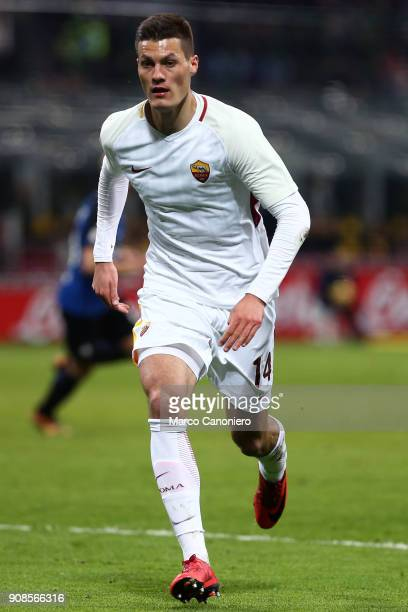 Patrik Schick of As Roma in action during the Serie A football match between Fc Internazionale and As Roma The match ended in a 11 tie