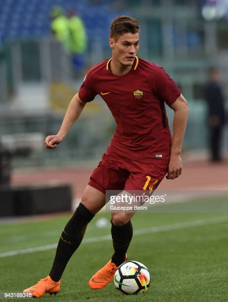 Patrik Schick of AS Roma in action during the serie A match between AS Roma and ACF Fiorentina at Stadio Olimpico on April 7 2018 in Rome Italy