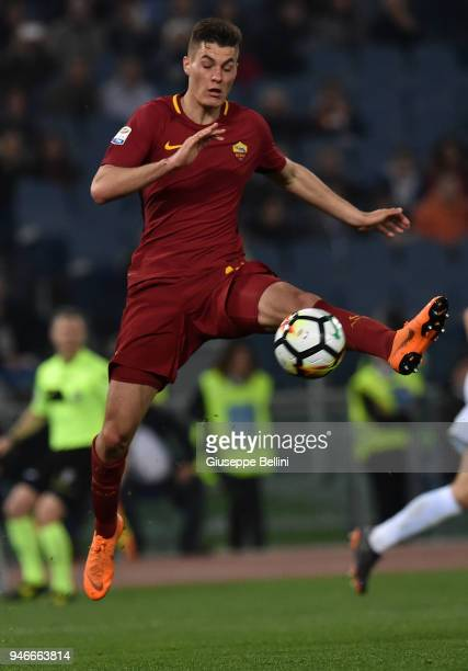 Patrik Schick of AS Roma in action during the serie A match between SS Lazio and AS Roma at Stadio Olimpico on April 15 2018 in Rome Italy