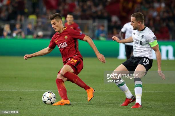 Patrik Schick of AS Roma Jordan Henderson of Liverpool during the UEFA Champions League Semi Final second leg match between AS Roma and Liverpool FC...