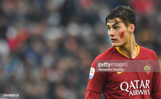 Patrik Schick of AS Roma looks on during the Serie A match between Udinese and AS Roma at Stadio Friuli on November 24 2018 in Udine Italy