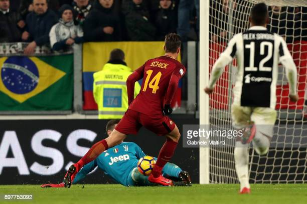 Patrik Schick of AS Roma misses a goal during the serie A match between Juventus and AS Roma at the Allianz Stadium on December 23 2017 in Turin Italy