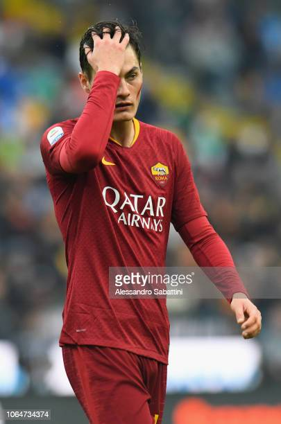 Patrik Schick of AS Roma reacts during the Serie A match between Udinese and AS Roma at Stadio Friuli on November 24 2018 in Udine Italy