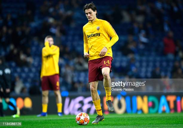 Patrik Schick of AS Roma warms up ahead of the UEFA Champions League Round of 16 Second Leg match between FC Porto and AS Roma at Estadio do Dragao...
