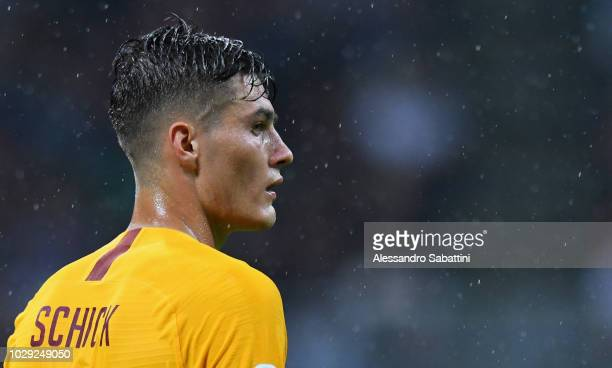 Patrik Schick of AS Romanlooks on during the serie A match between AC Milan and AS Roma at Stadio Giuseppe Meazza on August 31 2018 in Milan Italy