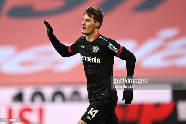 Patrik Schick of Bayer 04 Leverkusen celebrates after scoring his team's second goal during the Bundesliga match between Bayer 04 Leverkusen and 1....