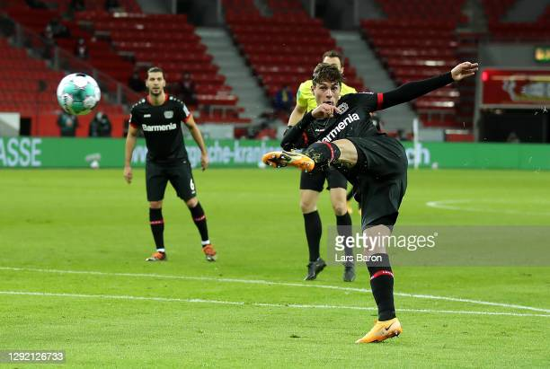 Patrik Schick of Bayer 04 Leverkusen scores his team's first goal during the Bundesliga match between Bayer 04 Leverkusen and FC Bayern Muenchen at...