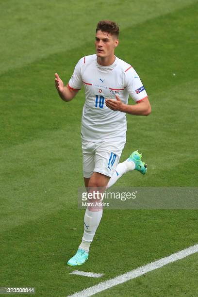 Patrik Schick of Czech Republic celebrates after scoring his team's first goal during the UEFA Euro 2020 Championship Group D match between Scotland...