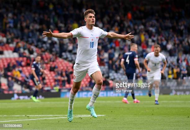 Patrik Schick of Czech Republic celebrates after scoring their side's first goal during the UEFA Euro 2020 Championship Group D match between...