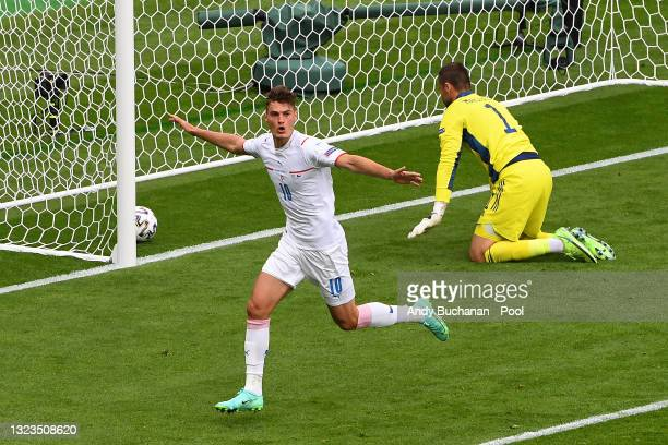 Patrik Schick of Czech Republic celebrates after scoring their side's first goal as David Marshall of Scotland looks dejected during the UEFA Euro...