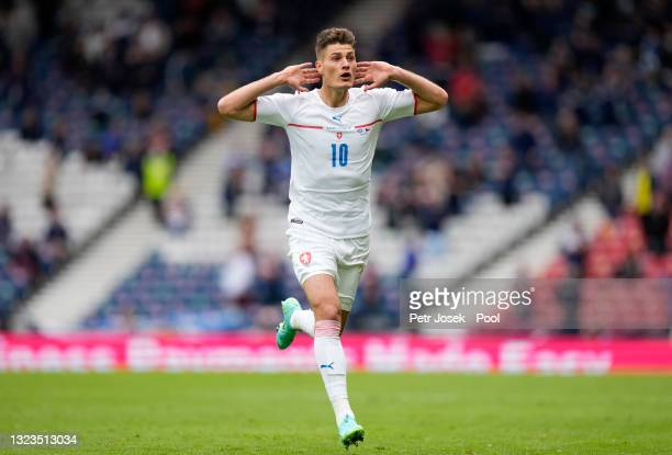 Patrik Schick of Czech Republic celebrates after scoring their side's second goal during the UEFA Euro 2020 Championship Group D match between...