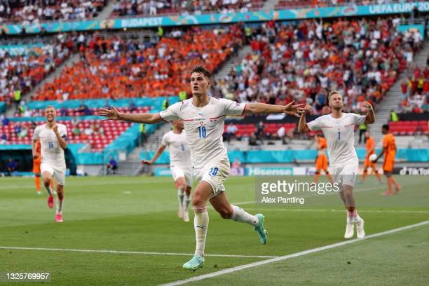 Patrik Schick of Czech Republic celebrates after scoring their side's second goal during the UEFA Euro 2020 Championship Round of 16 match between...