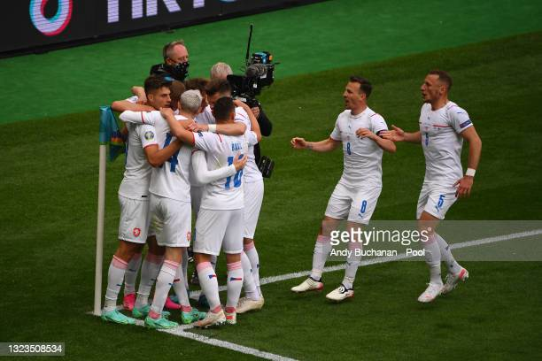 Patrik Schick of Czech Republic celebrates with team mates after scoring their side's first goal during the UEFA Euro 2020 Championship Group D match...